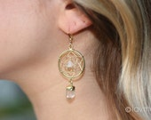 DREAM CATCHER with crystal quartz earrings- boho dreamcatcher