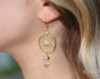 DREAM CATCHER with crystal quartz earrings- boho dreamcatcher