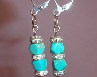 Turquoise and Rhinestone Dangle Earrings made from Vintage Components