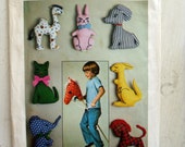 Simplicity 7744 Vintage Stuffed Animal Pattern Easy to Make 1960s Quirky Fun Complete Factory Folded Uncut