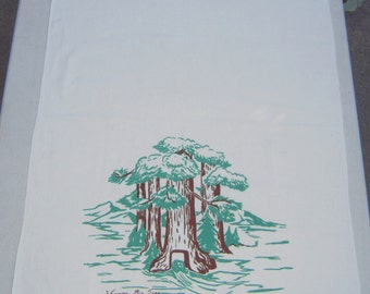 Vintage Souvenir Towel Wawona Big Tree California Drive Through the Tunnel