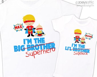 Comic book big brother superhero li'l brother sidekick sibling Tshirt set - personalized sibling t-shirts TWO shirts