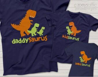 dinosaur - daddysaurus, kidsaurus, babysaurus matching three DARK shirts for dad, kid and baby - great gift for Dad father's day  MDF1-017v