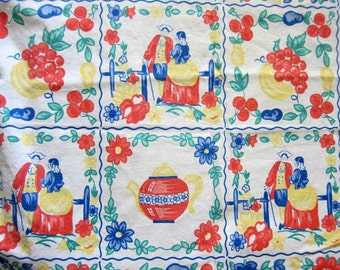 Vintage Colonial Fabric, Mid Century Colonial Print on White Cotton with Teapot, Fruit, Couple, and Flowers