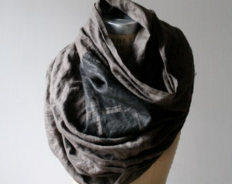 002 slate linen industrial print scarf, Brooklyn Architecture Print, Large Scarves, Brooklyn Accessories, Long Scarf, Unique Gifts