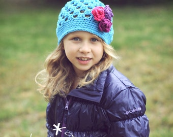 Girl's Cotton Hat with 3 Roses, Turquoise Flapper Beanie, Crochet Hats, Girls Crochet Hat, One Size Fits Most Girls 2-6 years old