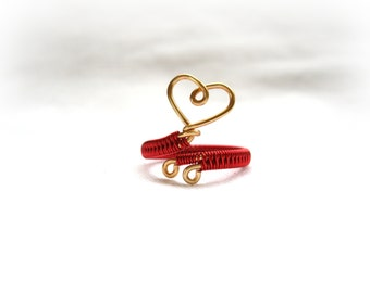 Red Heart Ring - Red And Gold Adjustable Wrap Around Ring