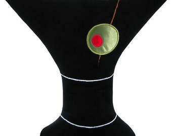 Black Martini Glass Decorative Throw Pillow Mini size 14 x 16 inches