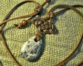 Leather Knotwork Necklace - Celtic Stunner with Serpentine Touch Stone