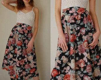 Prairie Skirt Vintage Quilted Botanical High Waist Prairie Boho Midi Skirt (xs s)