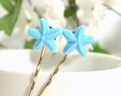 Blue Starfish Bobby Pin, Sea Star Bobbies, Beach Hair Pin