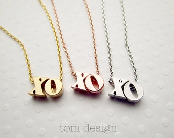 XO Necklace Lowercase - Silver XO Necklace Gold xo Necklace Rose Gold xo Necklce Love Necklace Bridal Jewelry Valentine's Hugs & Kisses