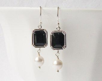 LAST ONE Black Crystal Pearl Dangle Earrings