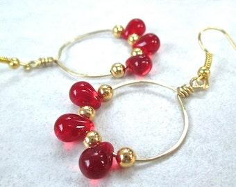 Red & Gold Earrings, Ruby Red Czech Glass Teardrop Beads, Open Circle Hoops, Chandelier Earrings, July Birthstone Jewelry, Gift for Her E402