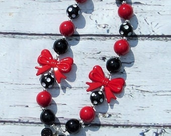Minnie Mouse Necklace Mickey Mouse Chunky Bubblegum Red Black Minny Girls Costume Jewelry Pendant Birthday Gift Disney Necklace