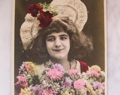 SALE !!! Antique Hand Tinted French Photo Postcard.Young Lady with hat. Early 1910/20 era