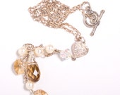Crystal Golden Shadow Sterling Silver Necklace
