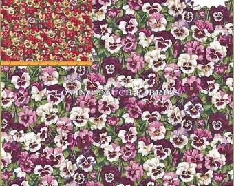 "Makower UK ""Summer Garden"" Pansies Floral Cotton Fabrics 1/2 Yard 18"" x 44"" (Make a Selection)"