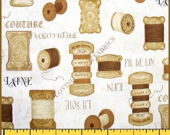 """Robert Kaufman """"Vintage Couturier"""" Sewing Theme Thread Cotton Fabric Priced Per 1/2 Yard 18"""" x 44"""""""