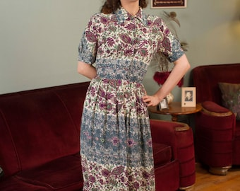 Vintage 1940s Dress - Silky Cold Rayon Printed Day Dress with Bold Colors