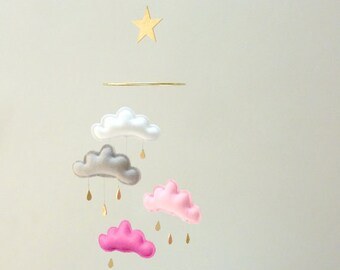 """Nursery cloud mobile """" PINK CAMILLE""""  by The Butter Flying-Rain Cloud Mobile Nursery Children Decor"""