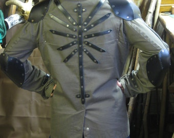 Armored jacket, shoulder and elbow protecters patches, raven detail on back