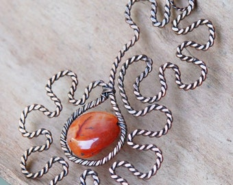 Copper Wire Wrap Pendant with Orange Agate, Wire Wrapped, Handmade, Unique