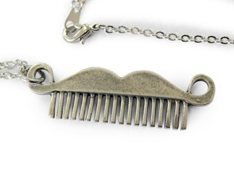 Two for One Sale...Moustache Comb Necklace Silver Mustache Comb Pendant Necklace Movember 438