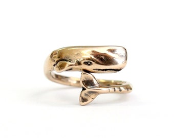 Moby Dick Whale Ring in Solid Bronze Sperm Whale Ring 327