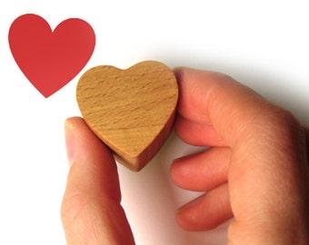 Love Heart Rubber Stamp, Wooden Valentine Stamp
