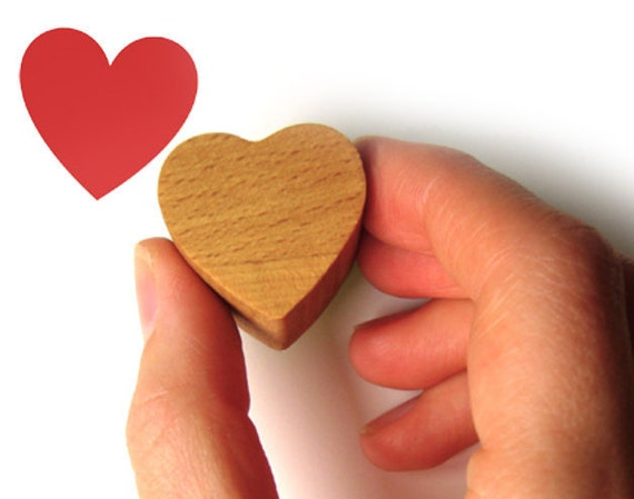 Love Heart Rubber Stamp, ink stamp with wooden handle