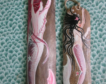 Two Hand Painted Pink Mermaids on Drift Wood Nautical Decor Beach House Decor