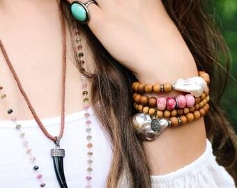 Boho Diamond Pearl Sandalwood Bracelet / June Birthstone, Bridal Bracelet, Bohochic Beaded Bracelet, Festival Bracelet, Stacking Bracelet