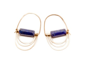 Triple Lapis Gold Fill Hoops - Earrings, Faceted Blue Stone