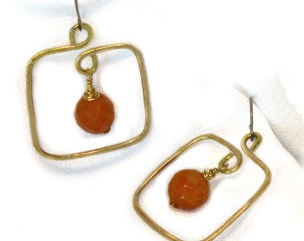 Earrings: Hand Forged Squares with Wire Wrapped Peach Aventurine