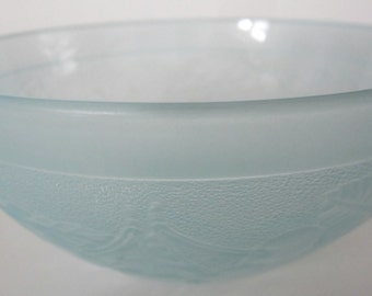 Vintage France Satin Ice Blue Glass Raised Fruit Bowl Salad Berry Cereal Rare Kitchen Collectible