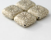 Acrylic Beads Ivory Gold Etched Flat Cube Beads 32mm HUGE (4)