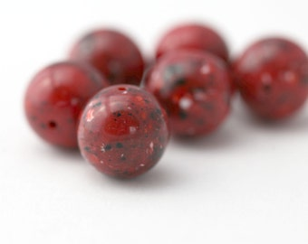 Vintage Red Round Marbled Confetti Lucite Beads 16mm (6)