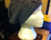 Grey Cabled Knit Slouch Hat