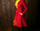 Miss Ana  ~ Fit and Flare Wool topcoat ~ redingote ~ with one of a kind appliqued 3D designs