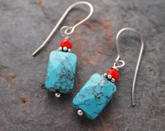 Red Quartz and Turquoise Earrings