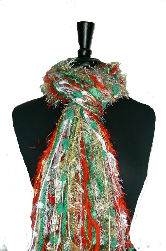 All Fringe Scarf Knotted Scarves - Christmas Scarf III - Red, White, Green and Gold