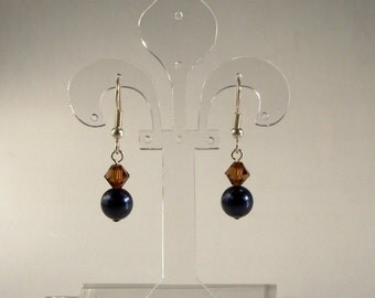 Swarovski Crystal and Pearl Earrings in Blue and Brown
