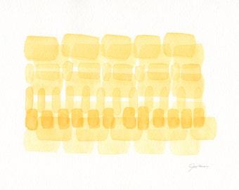 Original Watercolor Painting, Modern Abstract Art, Minimalist Art, Yellow