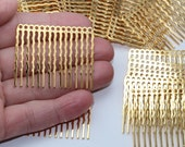 "Gold Hair Combs (6) 1.75"" x 1.5"", 14 1.2mm holes, DIY shape + decorate wedding supplies, bridesmaid flower girl prom shiny gold plate 