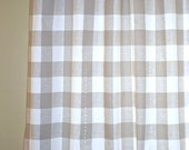 "Pair of Buffalo Check Curtain Panels - Anderson Ecru and White - Large Gingham Beige Tan Taupe 25"" or 50""  wide - You choose length"