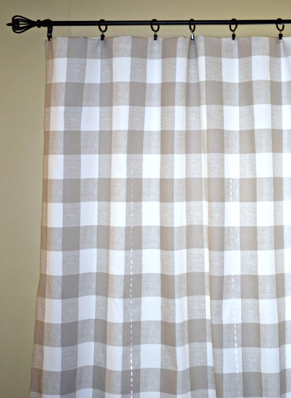 pair of buffalo check curtain panels anderson taupe and