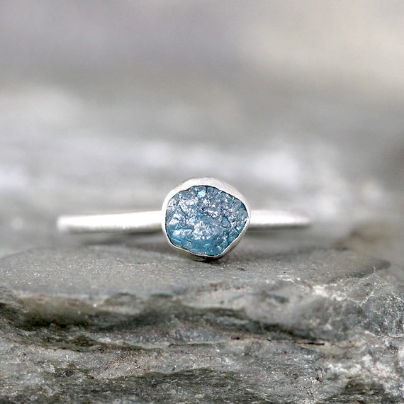 raw blue diamond engagement ring 1 carat conflict free