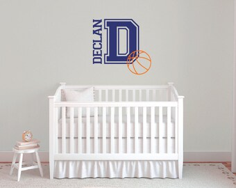 Basketball wall decals, Personalized wall decals, Basketball wall art, Sports wall decals, Name wall decals, Basketball wall decor  DB382