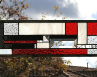 JAZZ - Art Deco Style Glass Window Panel, Small Sidelight or Transom, Red, Black, White, Clear, Geometric, Art Nouveau, Stain Glass